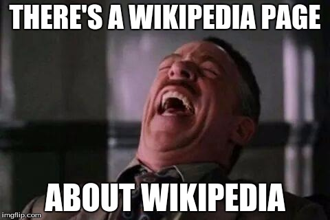 laughing guy | THERE'S A WIKIPEDIA PAGE ABOUT WIKIPEDIA | image tagged in laughing guy | made w/ Imgflip meme maker