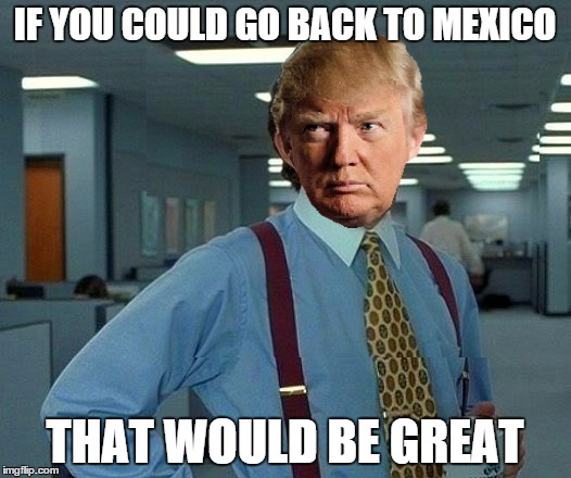 That would be great | IF YOU COULD GO BACK TO MEXICO THAT WOULD BE GREAT | image tagged in memes,that would be great,donald trump,racist | made w/ Imgflip meme maker