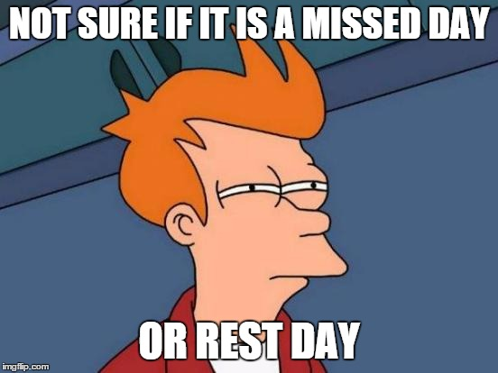 Futurama Fry Meme | NOT SURE IF IT IS A MISSED DAY OR REST DAY | image tagged in memes,futurama fry | made w/ Imgflip meme maker
