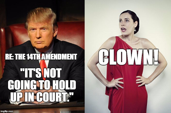 "The unconstitional constitutional amendment | RE: THE 14TH AMENDMENT ""IT'S NOT GOING TO HOLD UP IN COURT."" CLOWN! 