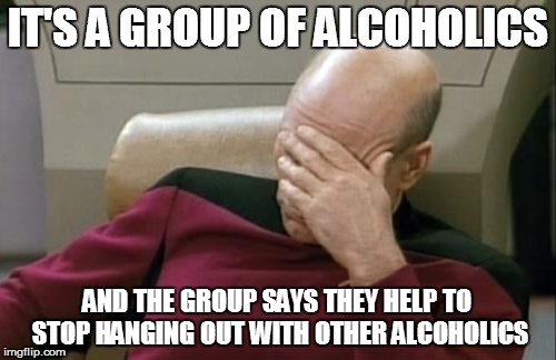 Captain Picard Facepalm Meme | IT'S A GROUP OF ALCOHOLICS AND THE GROUP SAYS THEY HELP TO STOP HANGING OUT WITH OTHER ALCOHOLICS | image tagged in memes,captain picard facepalm | made w/ Imgflip meme maker