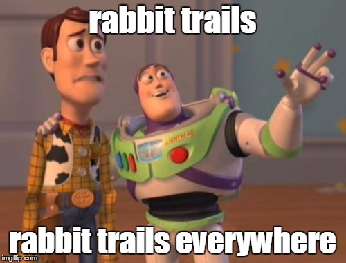 X, X Everywhere Meme | rabbit trails rabbit trails everywhere | image tagged in memes,x x everywhere | made w/ Imgflip meme maker