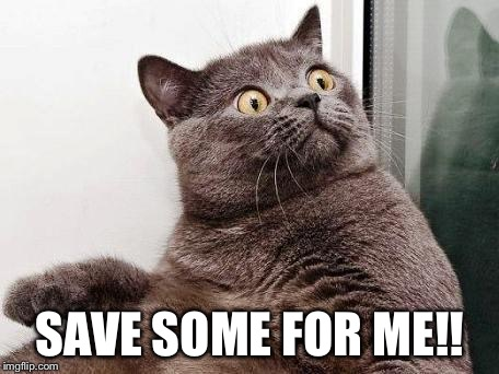 surprised cat | SAVE SOME FOR ME!! | image tagged in surprised cat | made w/ Imgflip meme maker