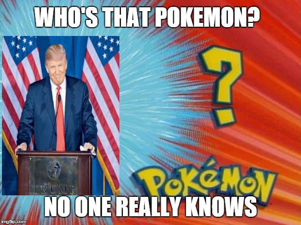 Not a trainer in the world is going to catch this one! | WHO'S THAT POKEMON? NO ONE REALLY KNOWS | image tagged in who is that pokemon,trump | made w/ Imgflip meme maker