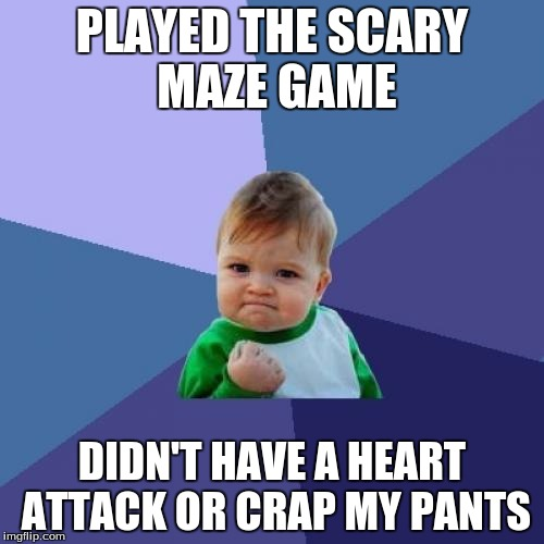 Success Kid Meme | PLAYED THE SCARY MAZE GAME DIDN'T HAVE A HEART ATTACK OR CRAP MY PANTS | image tagged in memes,success kid,movies,video games,scary maze,horror | made w/ Imgflip meme maker