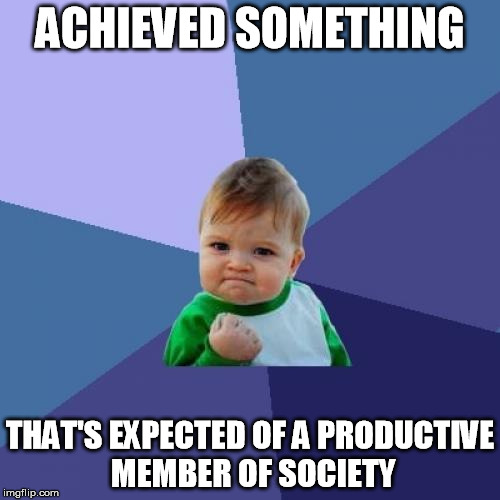 Success Kid Meme | ACHIEVED SOMETHING THAT'S EXPECTED OF A PRODUCTIVE MEMBER OF SOCIETY | image tagged in memes,success kid,AdviceAnimals | made w/ Imgflip meme maker