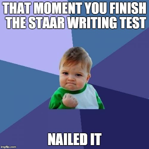 Success Kid Meme | THAT MOMENT YOU FINISH THE STAAR WRITING TEST NAILED IT | image tagged in memes,success kid | made w/ Imgflip meme maker
