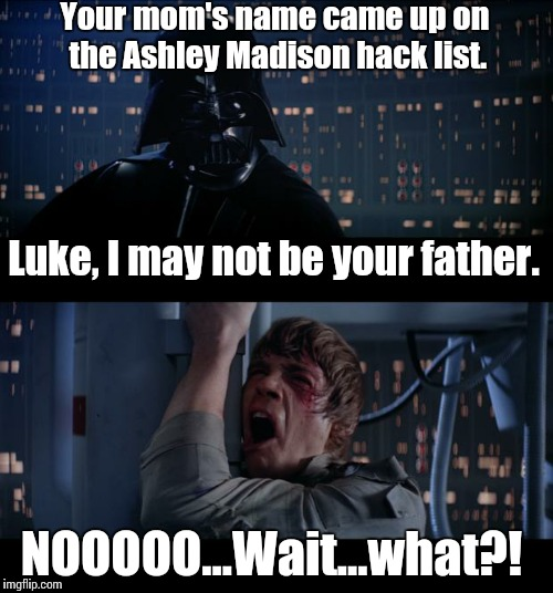 Star Wars No Meme | Your mom's name came up on the Ashley Madison hack list. NOOOOO...Wait...what?! Luke, I may not be your father. | image tagged in memes,star wars no | made w/ Imgflip meme maker