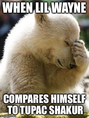 Facepalm Bear | WHEN LIL WAYNE COMPARES HIMSELF TO TUPAC SHAKUR | image tagged in memes,facepalm bear | made w/ Imgflip meme maker