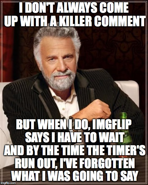 The Most Interesting Man In The World Meme | I DON'T ALWAYS COME UP WITH A KILLER COMMENT BUT WHEN I DO, IMGFLIP SAYS I HAVE TO WAIT AND BY THE TIME THE TIMER'S RUN OUT, I'VE FORGOTTEN  | image tagged in memes,the most interesting man in the world | made w/ Imgflip meme maker