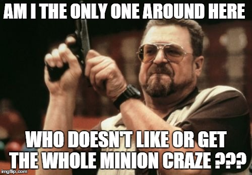 Am I The Only One Around Here Meme | AM I THE ONLY ONE AROUND HERE WHO DOESN'T LIKE OR GET THE WHOLE MINION CRAZE ??? | image tagged in memes,am i the only one around here,funny | made w/ Imgflip meme maker