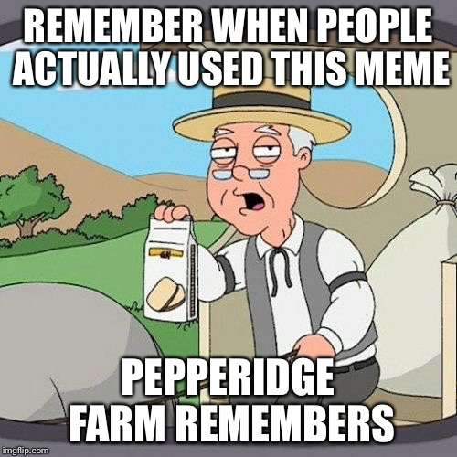 REMEMBER WHEN PEOPLE ACTUALLY USED THIS MEME PEPPERIDGE FARM REMEMBERS | made w/ Imgflip meme maker
