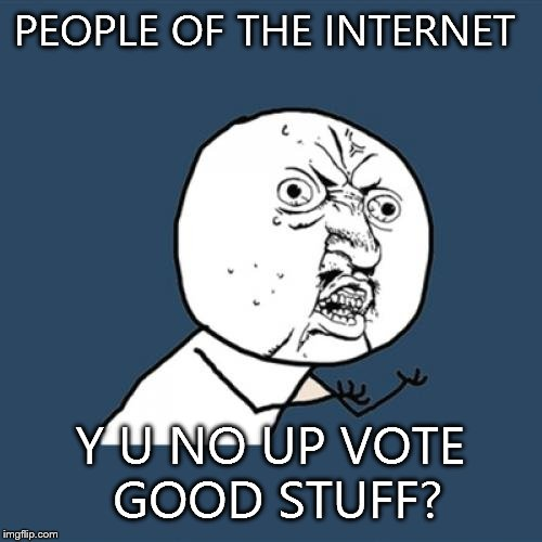Y U No | PEOPLE OF THE INTERNET Y U NO UP VOTE GOOD STUFF? | image tagged in memes,y u no | made w/ Imgflip meme maker