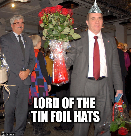 LORD OF THE TIN FOIL HATS | image tagged in swedish prime minister | made w/ Imgflip meme maker