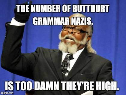 Too Damn High Meme | THE NUMBER OF BUTTHURT GRAMMAR NAZIS, IS TOO DAMN THEY'RE HIGH. | image tagged in memes,too damn high | made w/ Imgflip meme maker