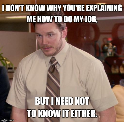 I DON'T KNOW WHY YOU'RE EXPLAINING ME HOW TO DO MY JOB, BUT I NEED NOT TO KNOW IT EITHER. | made w/ Imgflip meme maker