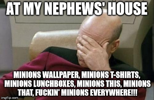 Captain Picard Facepalm Meme | AT MY NEPHEWS' HOUSE MINIONS WALLPAPER, MINIONS T-SHIRTS, MINIONS LUNCHBOXES, MINIONS THIS, MINIONS THAT, F**KIN' MINIONS EVERYWHERE!!! | image tagged in memes,captain picard facepalm | made w/ Imgflip meme maker