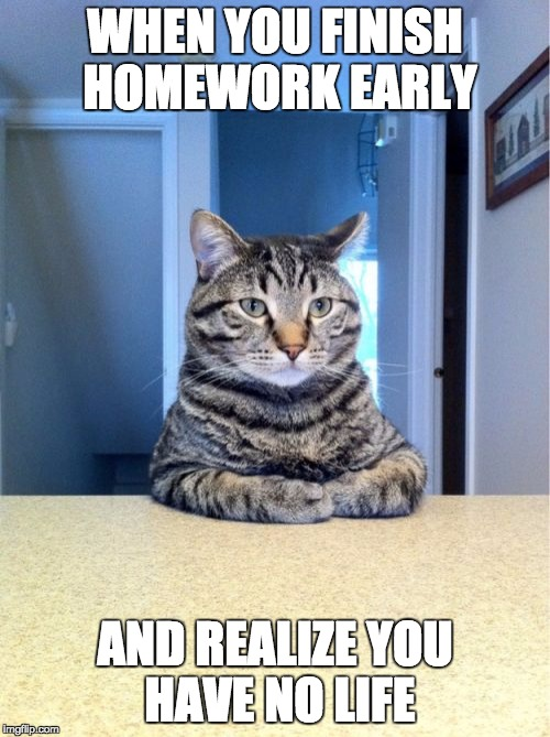 Take A Seat Cat Meme | WHEN YOU FINISH HOMEWORK EARLY AND REALIZE YOU HAVE NO LIFE | image tagged in memes,take a seat cat | made w/ Imgflip meme maker