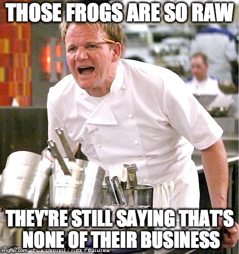 meanwhile in France | THOSE FROGS ARE SO RAW THEY'RE STILL SAYING THAT'S NONE OF THEIR BUSINESS | image tagged in memes,chef gordon ramsay | made w/ Imgflip meme maker