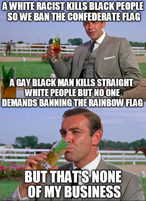 Sean Connery > Kermit | A WHITE RACIST KILLS BLACK PEOPLE SO WE BAN THE CONFEDERATE FLAG BUT THAT'S NONE OF MY BUSINESS A GAY BLACK MAN KILLS STRAIGHT WHITE PEOPLE  | image tagged in sean connery  kermit,confederate flag,homosexuality | made w/ Imgflip meme maker