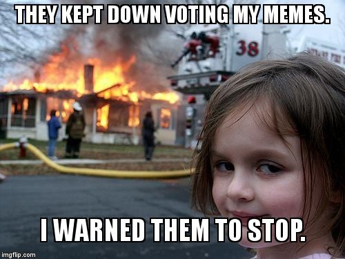 Unheeded  | THEY KEPT DOWN VOTING MY MEMES. I WARNED THEM TO STOP. | image tagged in memes,disaster girl,downvote,house fire,fire girl,arson | made w/ Imgflip meme maker