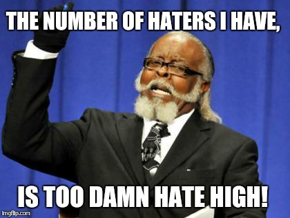 Mods are trolling with me, Memes have 4 downvotes even before they get featured.  | THE NUMBER OF HATERS I HAVE, IS TOO DAMN HATE HIGH! | image tagged in memes,too damn high | made w/ Imgflip meme maker