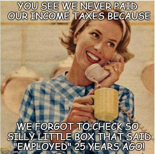 "IGNORANCE IS NO EXCUSE! | YOU SEE WE NEVER PAID OUR INCOME TAXES BECAUSE WE FORGOT TO CHECK SO SILLY LITTLE BOX THAT SAID ""EMPLOYED"" 25 YEARS AGO! 