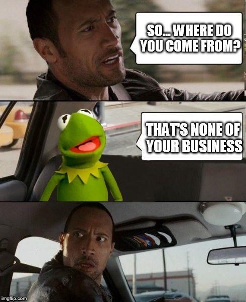 Rock driving Kermit up the wall... | SO... WHERE DO YOU COME FROM? THAT'S NONE OF YOUR BUSINESS | image tagged in kermit rocks,meme,the rock driving,kermit the frog | made w/ Imgflip meme maker