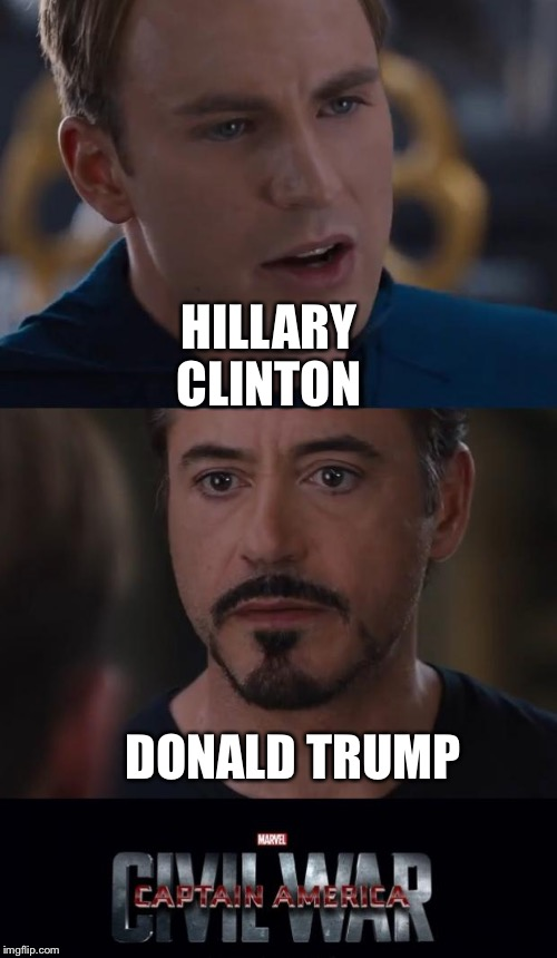 Marvel Civil War | DONALD TRUMP HILLARY CLINTON | image tagged in marvel civil war template | made w/ Imgflip meme maker