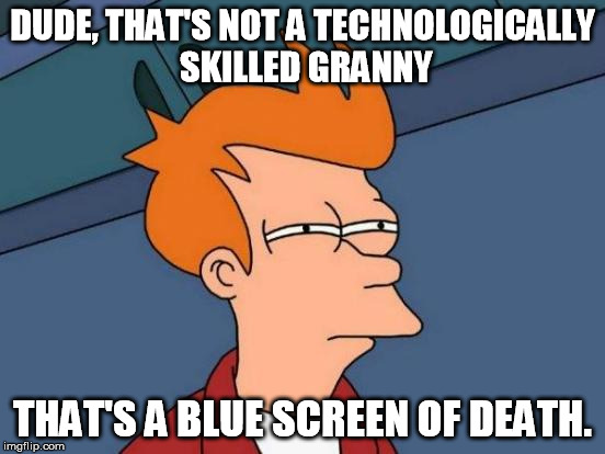 Futurama Fry Meme | DUDE, THAT'S NOT A TECHNOLOGICALLY SKILLED GRANNY THAT'S A BLUE SCREEN OF DEATH. | image tagged in memes,futurama fry | made w/ Imgflip meme maker