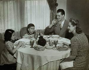 1950 Family Meal Blank Meme Template