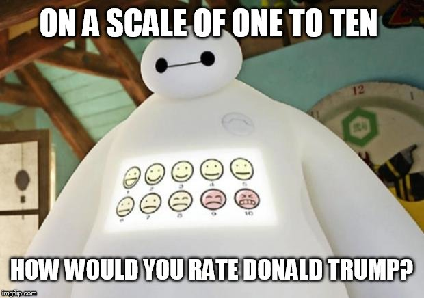 Political phone surveys  | ON A SCALE OF ONE TO TEN HOW WOULD YOU RATE DONALD TRUMP? | image tagged in baymax guest experience | made w/ Imgflip meme maker