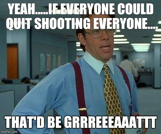 That Would Be Great Meme | YEAH.....IF EVERYONE COULD QUIT SHOOTING EVERYONE.... THAT'D BE GRRREEEAAATTT | image tagged in memes,that would be great | made w/ Imgflip meme maker