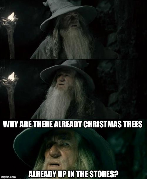 Confused Gandalf Meme | ALREADY UP IN THE STORES? WHY ARE THERE ALREADY CHRISTMAS TREES | image tagged in memes,confused gandalf | made w/ Imgflip meme maker