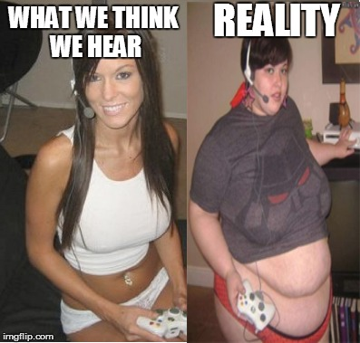 Truth About Online Girls | WHAT WE THINK WE HEAR REALITY | image tagged in gaming,ps4,xbox,xbox vs ps4,girls | made w/ Imgflip meme maker
