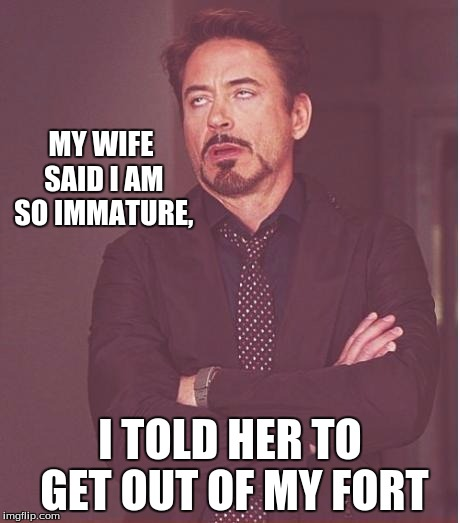Face You Make Robert Downey Jr Meme | MY WIFE SAID I AM SO IMMATURE, I TOLD HER TO GET OUT OF MY FORT | image tagged in memes,face you make robert downey jr | made w/ Imgflip meme maker