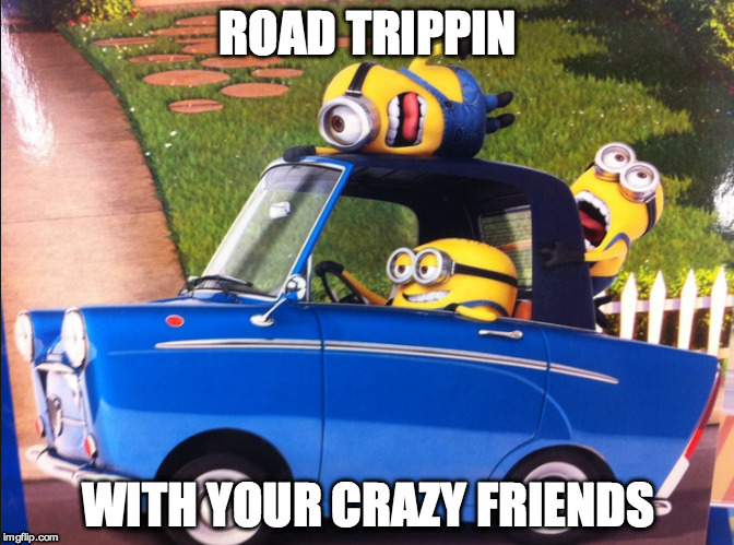 ROAD TRIP | ROAD TRIPPIN WITH YOUR CRAZY FRIENDS | image tagged in road trip | made w/ Imgflip meme maker