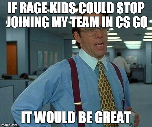 Cs Go problems | IF RAGE KIDS COULD STOP JOINING MY TEAM IN CS GO IT WOULD BE GREAT | image tagged in memes,that would be great,csgo,counter strike | made w/ Imgflip meme maker