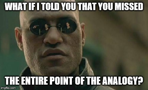 Matrix Morpheus Meme | WHAT IF I TOLD YOU THAT YOU MISSED THE ENTIRE POINT OF THE ANALOGY? | image tagged in memes,matrix morpheus | made w/ Imgflip meme maker