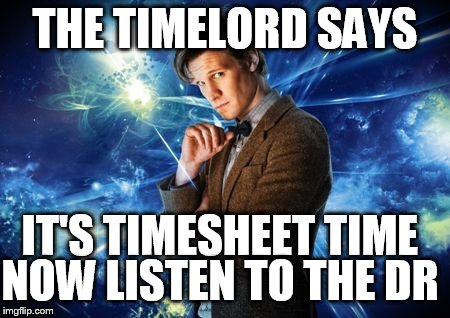 dr who | THE TIMELORD SAYS IT'S TIMESHEET TIME NOW LISTEN TO THE DR | image tagged in dr who,timesheets,timelord,timesheet meme | made w/ Imgflip meme maker
