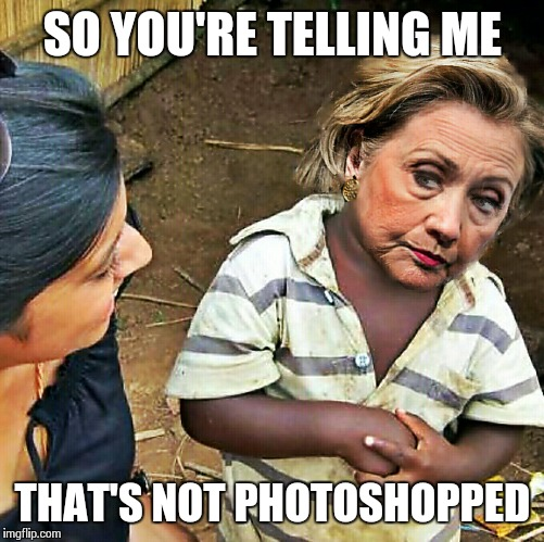 skeptical hillary | SO YOU'RE TELLING ME THAT'S NOT PHOTOSHOPPED | image tagged in skeptical hillary | made w/ Imgflip meme maker