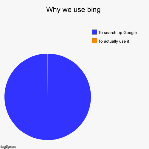 Why we use bing | To actually use it, To search up Google | image tagged in funny,pie charts | made w/ Imgflip pie chart maker