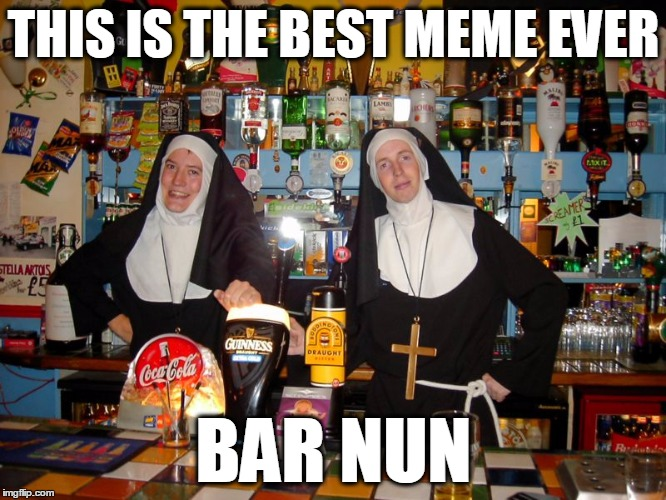 Best Meme Ever | THIS IS THE BEST MEME EVER BAR NUN | image tagged in funny,nun,bar,pun,bad pun | made w/ Imgflip meme maker