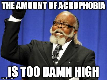 Too Damn High Meme | THE AMOUNT OF ACROPHOBIA IS TOO DAMN HIGH | image tagged in memes,too damn high | made w/ Imgflip meme maker