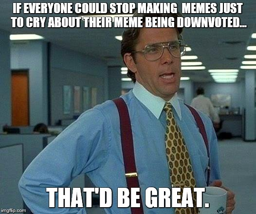 That Would Be Great Meme | IF EVERYONE COULD STOP MAKING  MEMES JUST TO CRY ABOUT THEIR MEME BEING DOWNVOTED... THAT'D BE GREAT. | image tagged in memes,that would be great | made w/ Imgflip meme maker