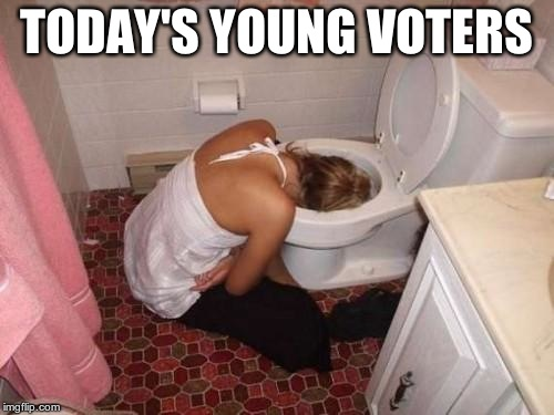 Drunk Girl Toilet | TODAY'S YOUNG VOTERS | image tagged in drunk girl toilet | made w/ Imgflip meme maker
