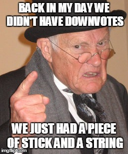 Back In My Day Meme | BACK IN MY DAY WE DIDN'T HAVE DOWNVOTES WE JUST HAD A PIECE OF STICK AND A STRING | image tagged in memes,back in my day | made w/ Imgflip meme maker