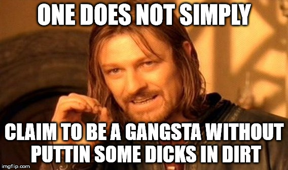 One Does Not Simply Meme | ONE DOES NOT SIMPLY CLAIM TO BE A GANGSTA WITHOUT PUTTIN SOME DICKS IN DIRT | image tagged in memes,one does not simply | made w/ Imgflip meme maker