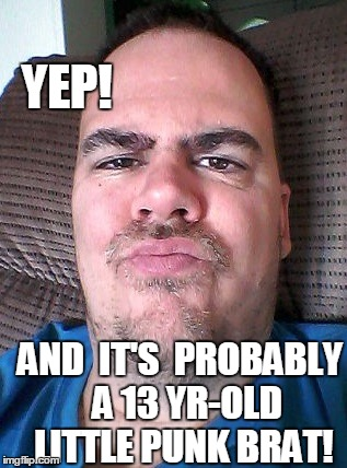 Scowl | YEP! AND  IT'S  PROBABLY  A 13 YR-OLD LITTLE PUNK BRAT! | image tagged in scowl | made w/ Imgflip meme maker