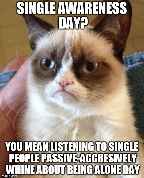 Grumpy Cat Meme | SINGLE AWARENESS DAY? YOU MEAN LISTENING TO SINGLE PEOPLE PASSIVE-AGGRESIVELY WHINE ABOUT BEING ALONE DAY | image tagged in memes,grumpy cat | made w/ Imgflip meme maker